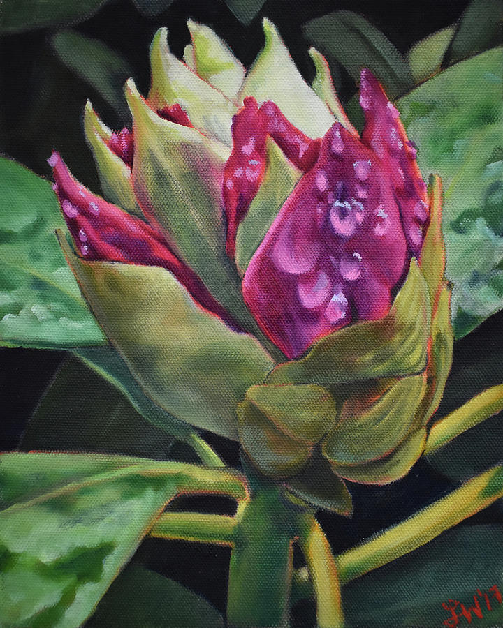 Rhododendron Painting - Spring Rain by Lauren Waterworth