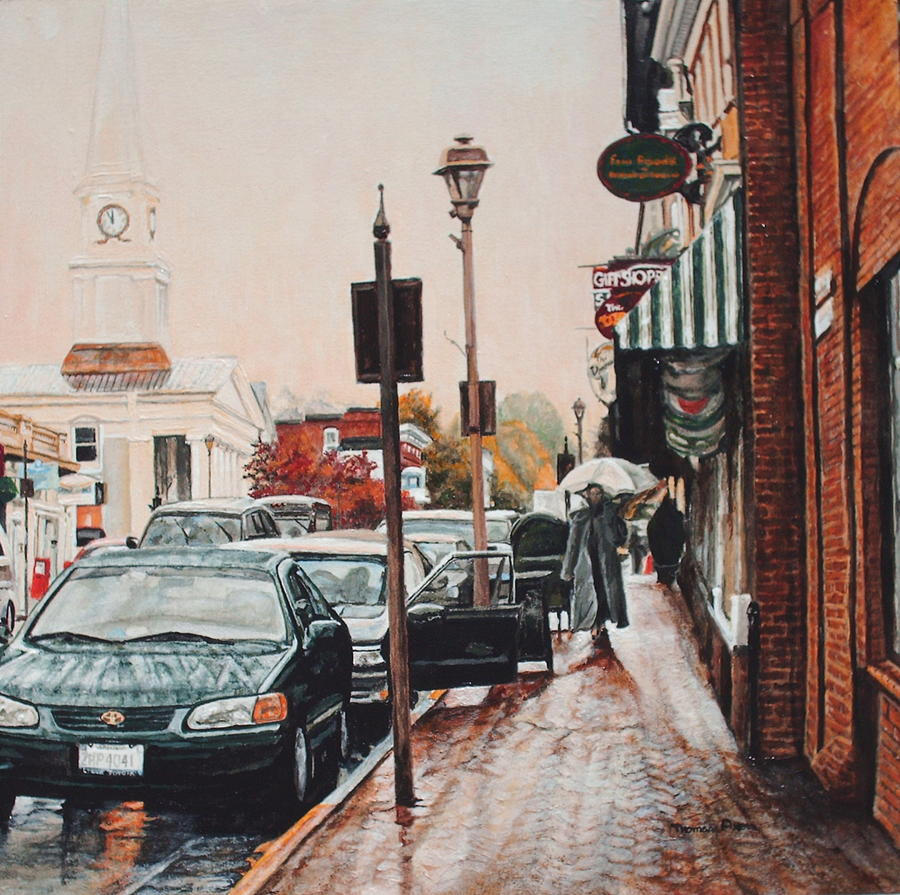 Cityscape Painting - Spring Rain by Thomas Akers