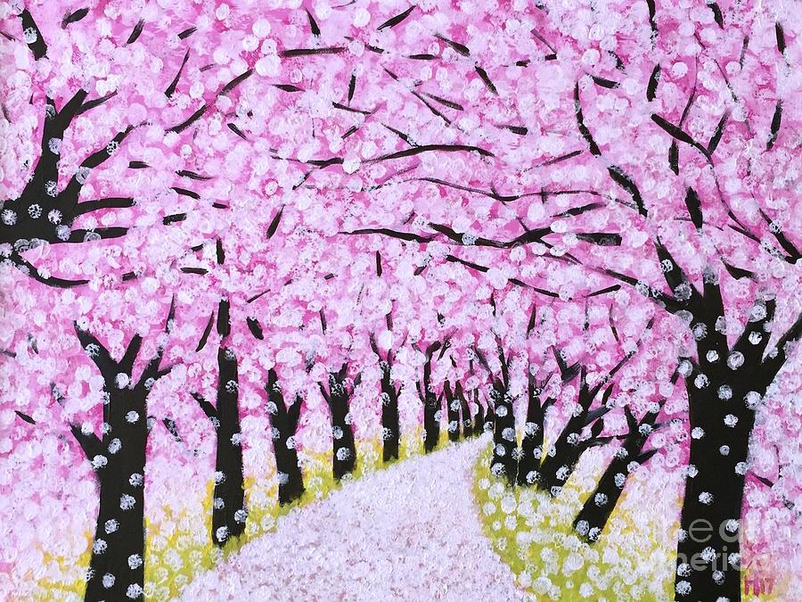 Nature Painting - Spring Road  by Wonju Hulse