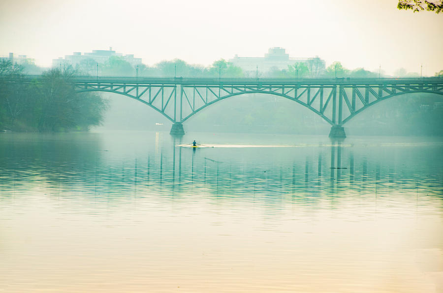Spring - Rowing under the Strawberry Mansion Bridge by Bill Cannon