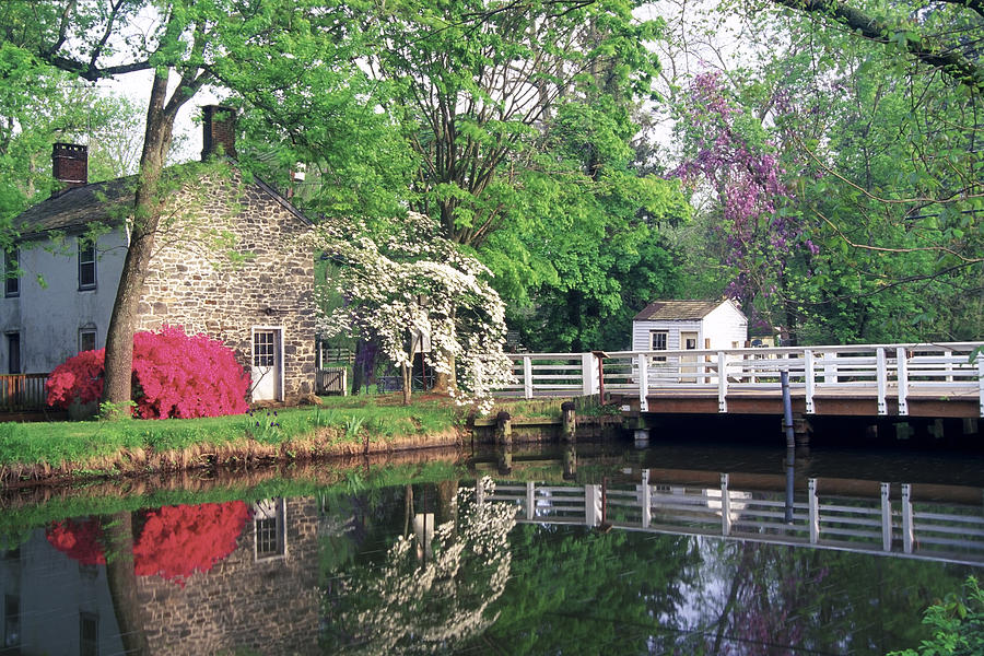 Architecture Photograph - Spring Scene At The Griggstown Bridge by George Oze