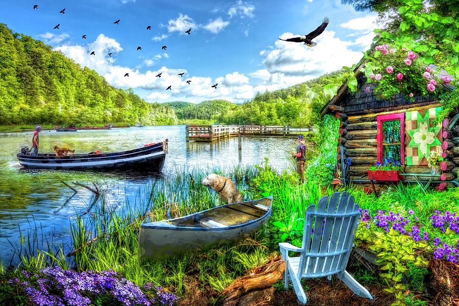 Barn Photograph - Spring Serenity At Lakeside by Debra and Dave Vanderlaan