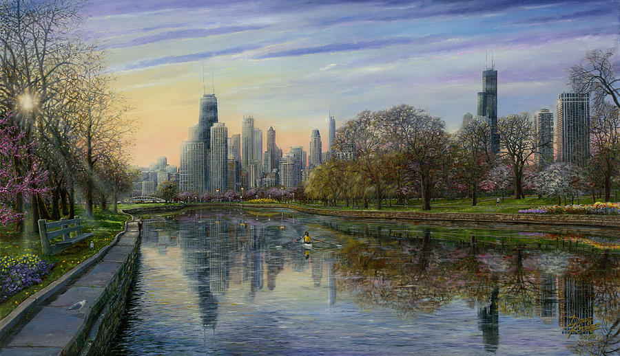 Chicago Skyline Painting - Spring Serenity  by Doug Kreuger