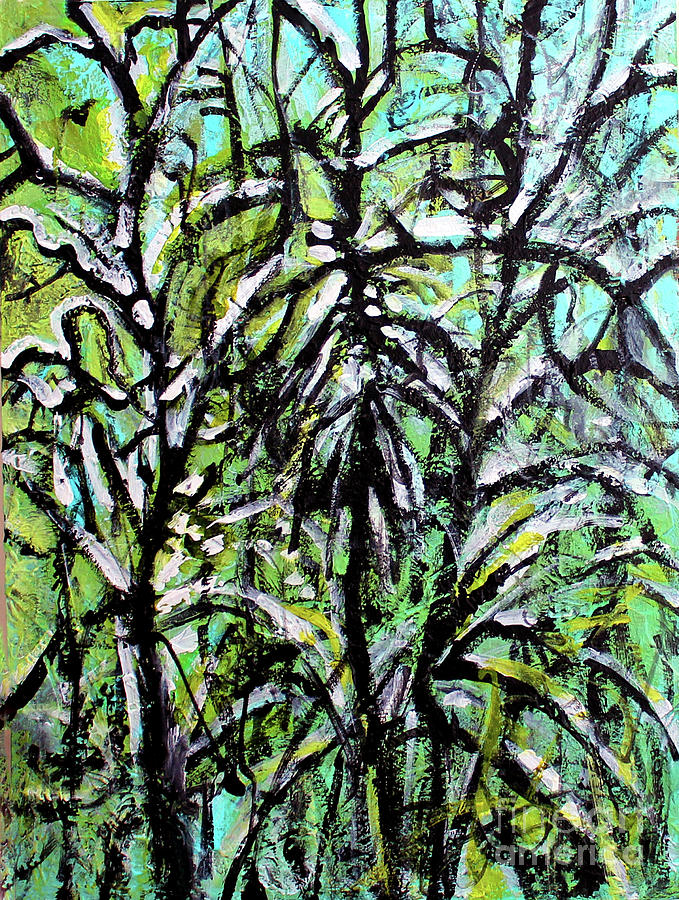 Backyard Trees Painting - Spring Snow by Priti Lathia