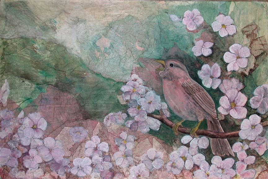 Songbird Painting - Spring Song by Sandy Clift