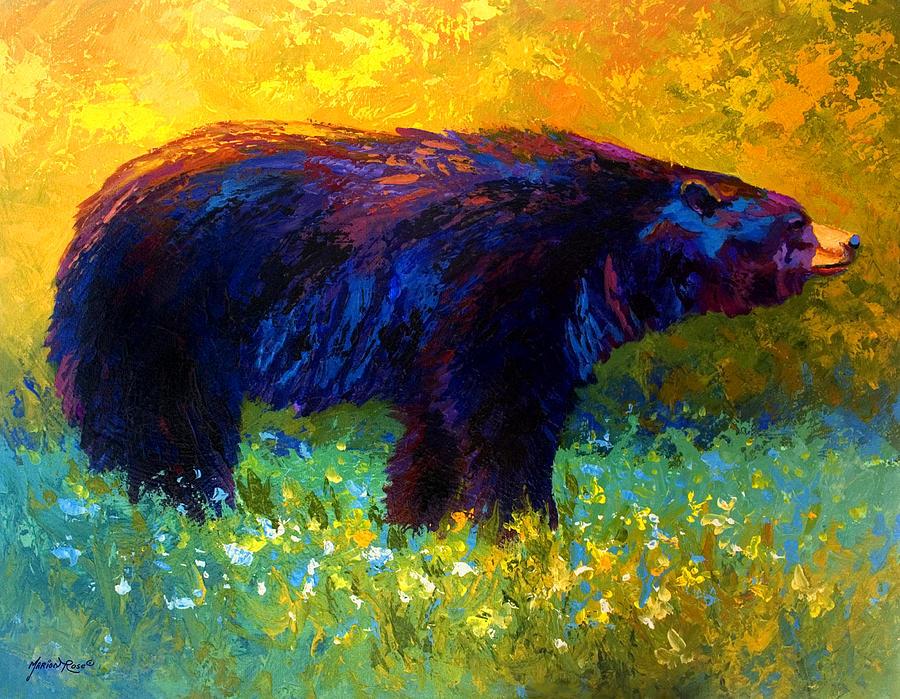 Bear Painting - Spring Stroll - Black Bear by Marion Rose