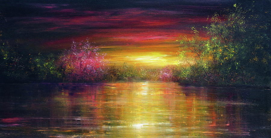 Hand Painted Painting - Spring Sunset by Ann Marie Bone