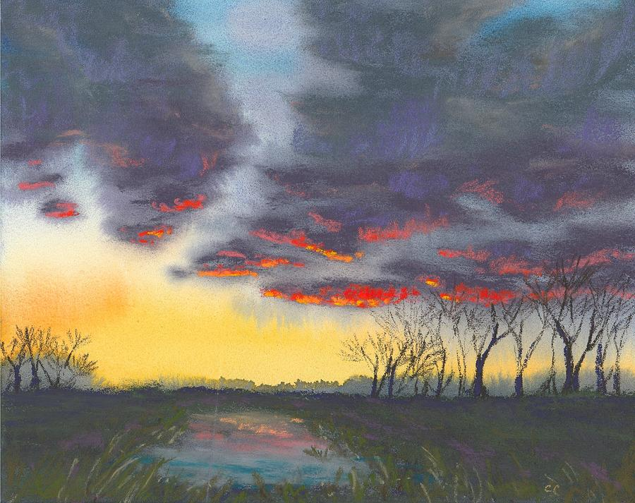 Sunset Painting - Spring Sunset by Christine Camp