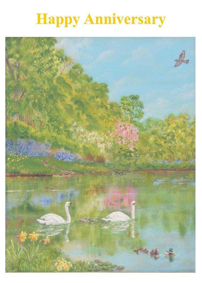 Anniversary Painting - Spring Swans Anniversary Card by David Capon