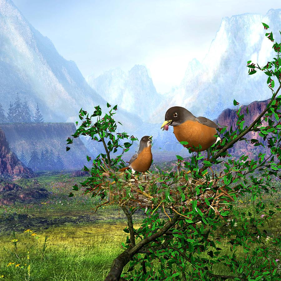 Birds Digital Art - Spring Time Robins by John Junek