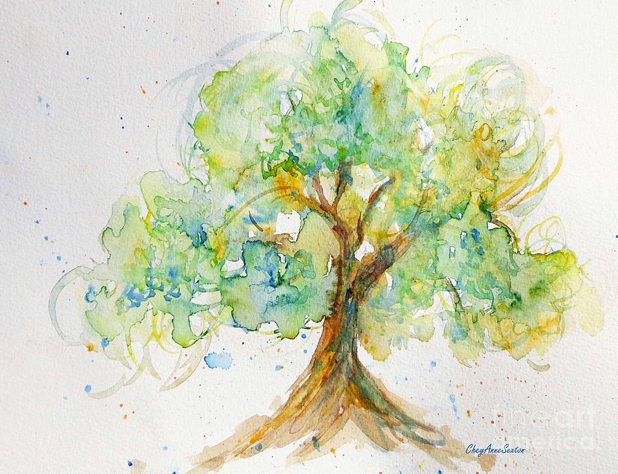 Spring Tree Watercolor Painting By Cheyanne Sexton