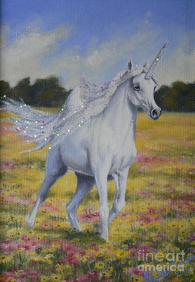 Spring Unicorn Painting by Louise Green
