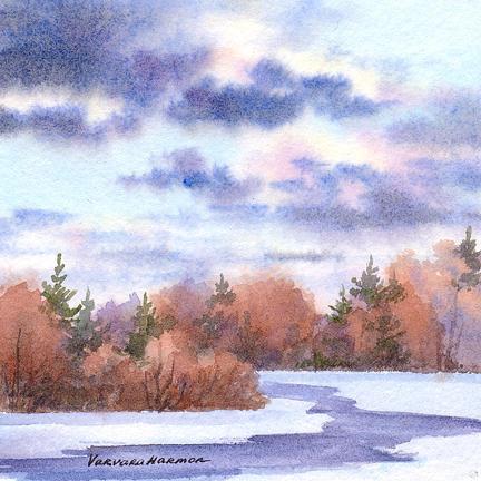 River Painting - Spring by Varvara Harmon