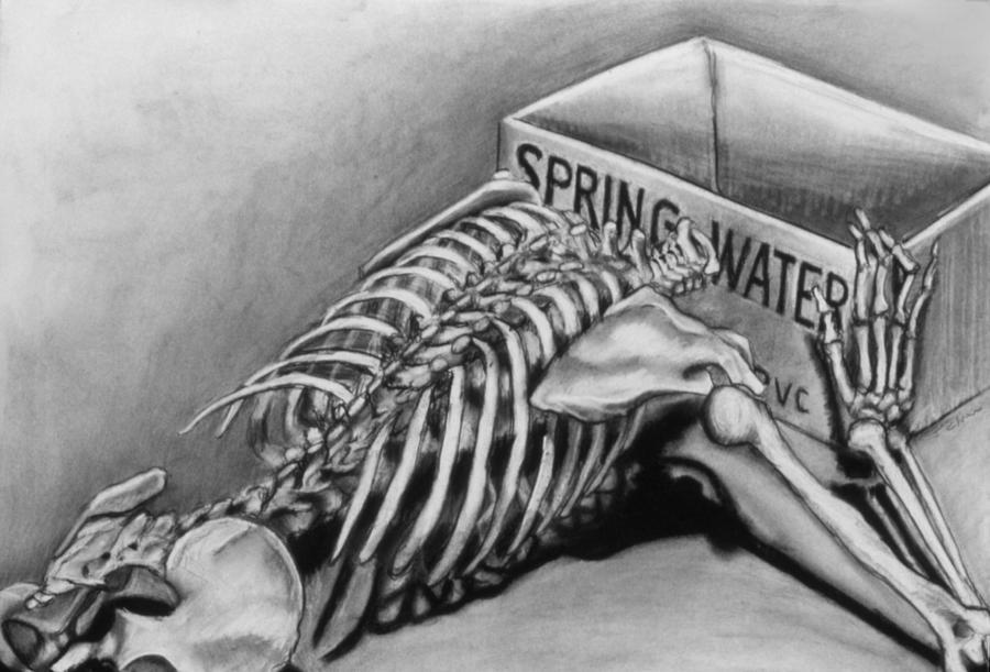 Skeleton Drawing - Spring Water by John Clum