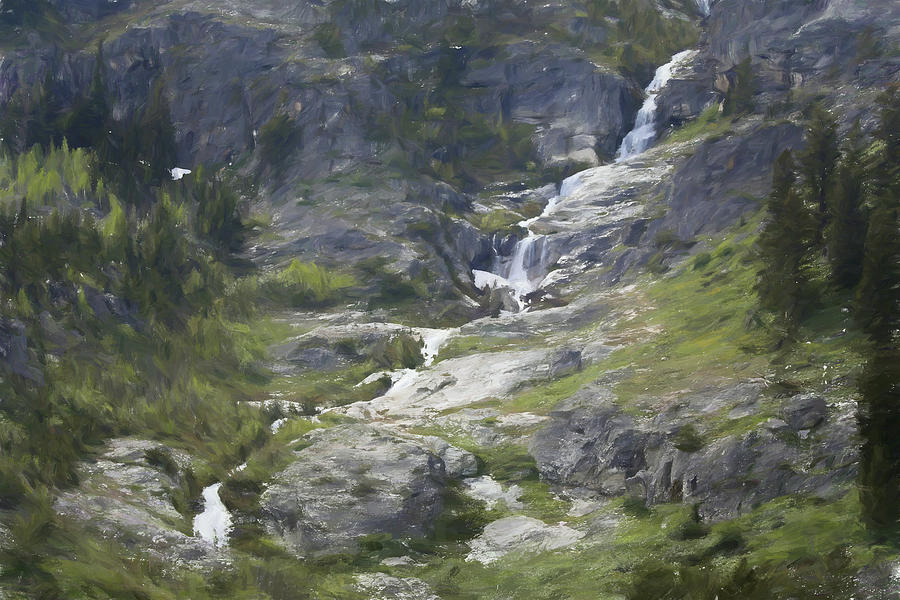Grand Tetons Painting - Spring Waterfall In The Tetons by Dan Sproul