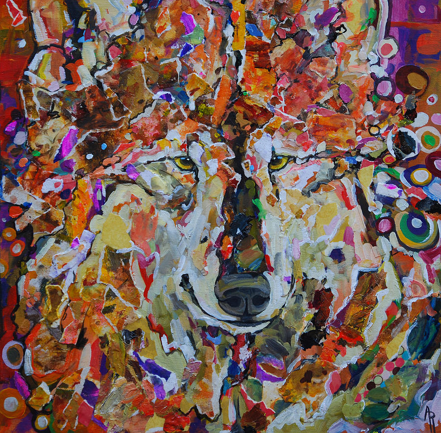 Collage Painting - Spring Wolf by Angie Rodrigues