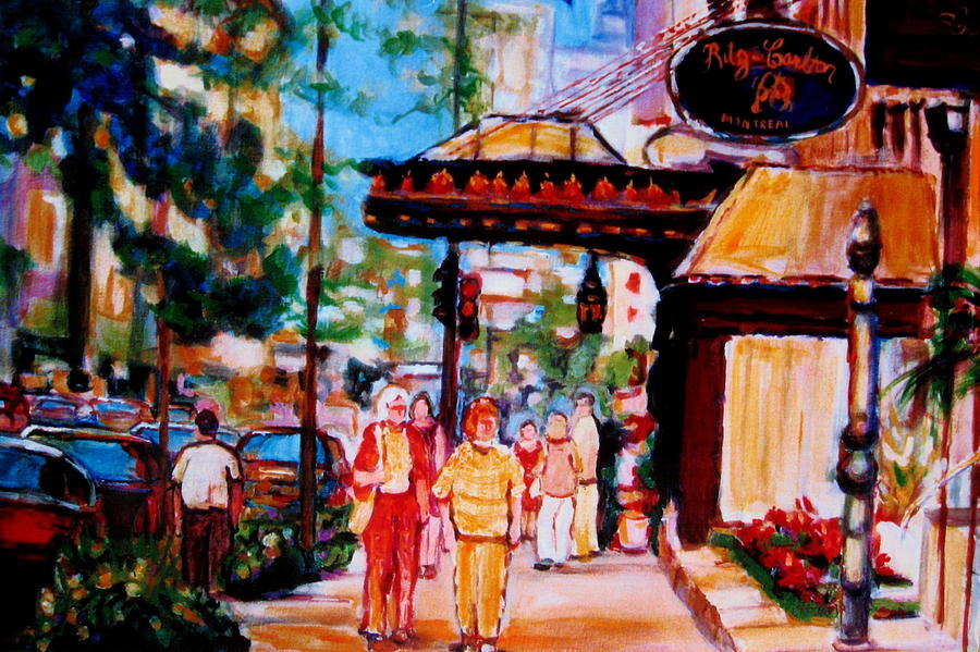 Montreal Streetscenes Painting - Springtime At The Ritz by Carole Spandau