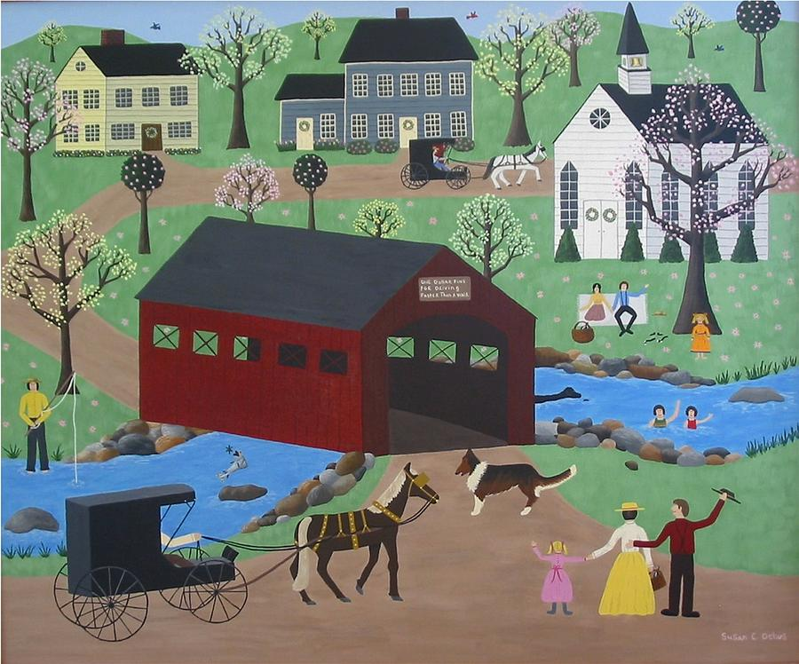 Covered Bridge Painting - Springtime In Vermont by Susan C Houghton
