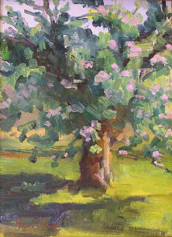 Apple Tree Painting - Springtime by Nancy Delpero