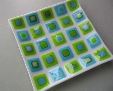 Fused Glass Glass Art - Springtime Plate by Sarah Merrion