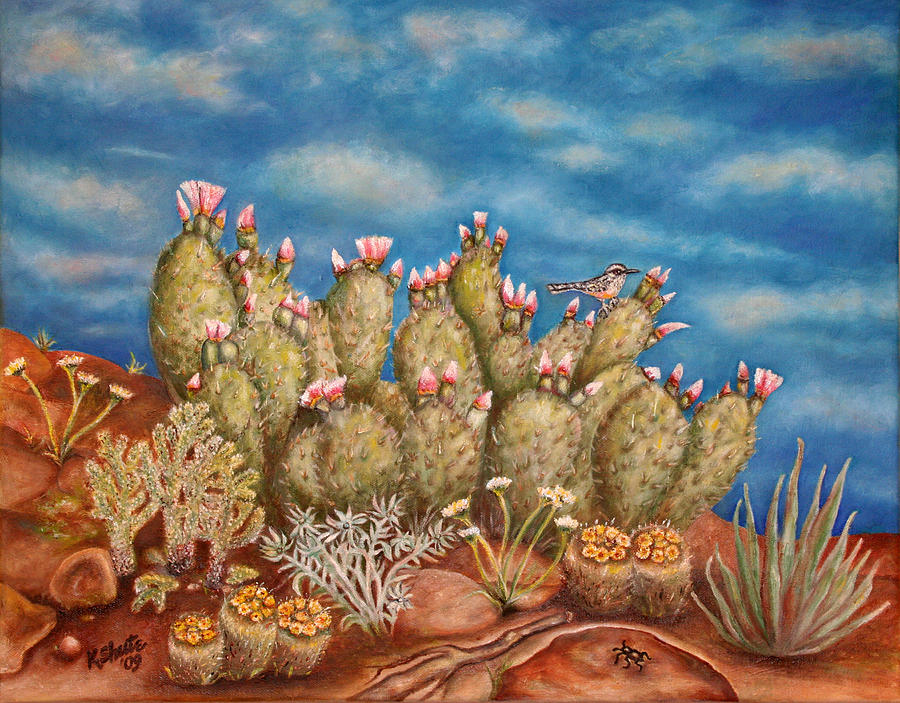 Springtime Succulence Painting by Kathy Shute