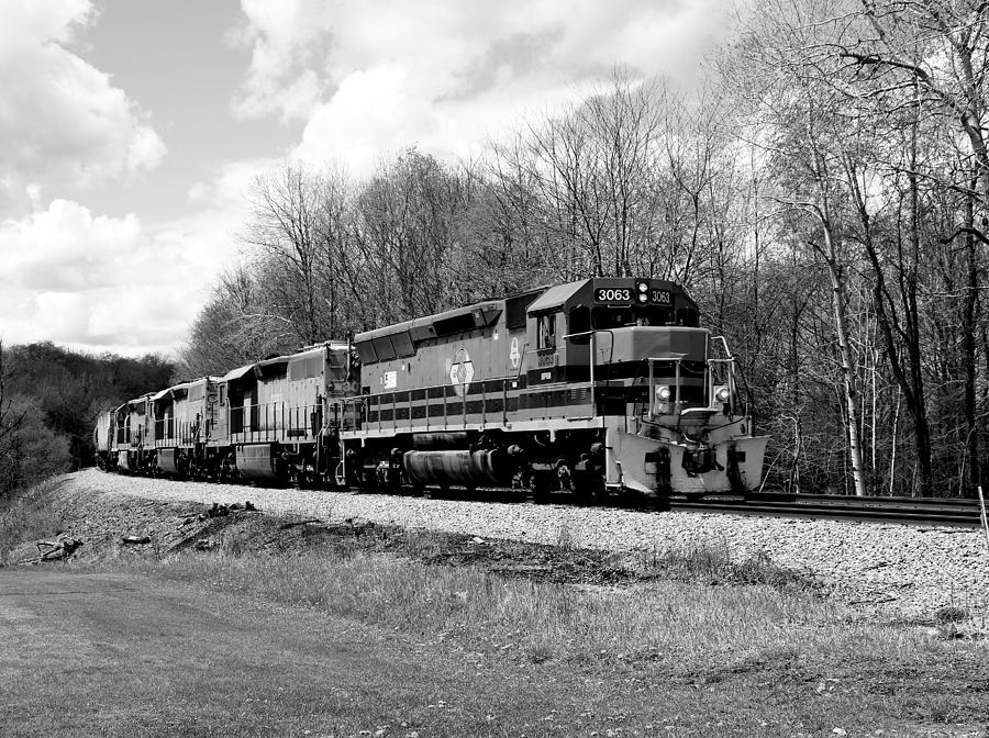 Sprintime Train in Black and White by Rick Morgan