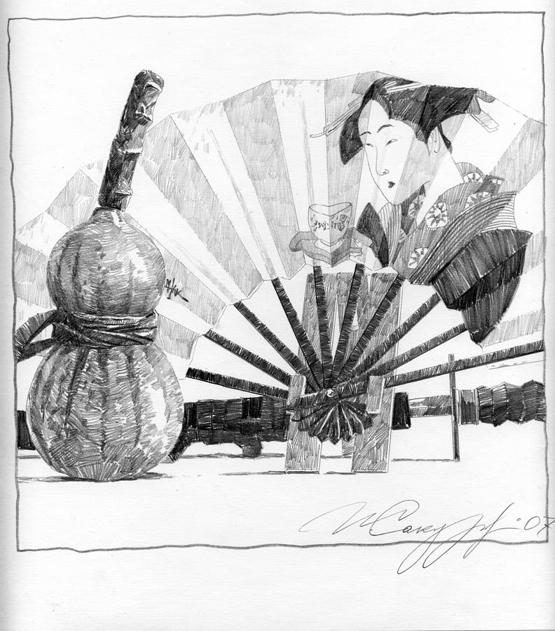 Spirit Of Japan. Pumpkin Jar And Fan Drawing