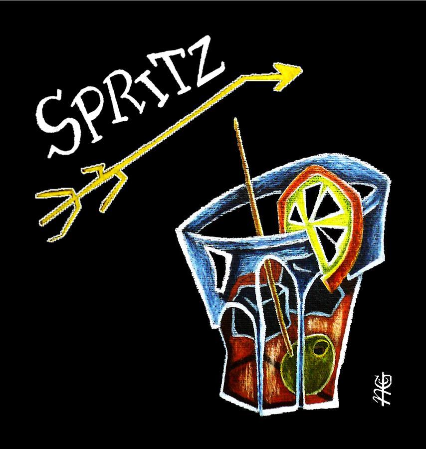 Spritz Drawing - Spritz Aperol T-shirt Design Venice Italy - Venezia Veneto Italia by Arte Venezia