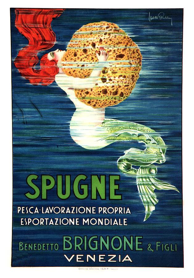 Vintage Mixed Media - Spugne - Mermaid - Brignone Bath Sponge - Vintage Advertising Poster by Studio Grafiikka