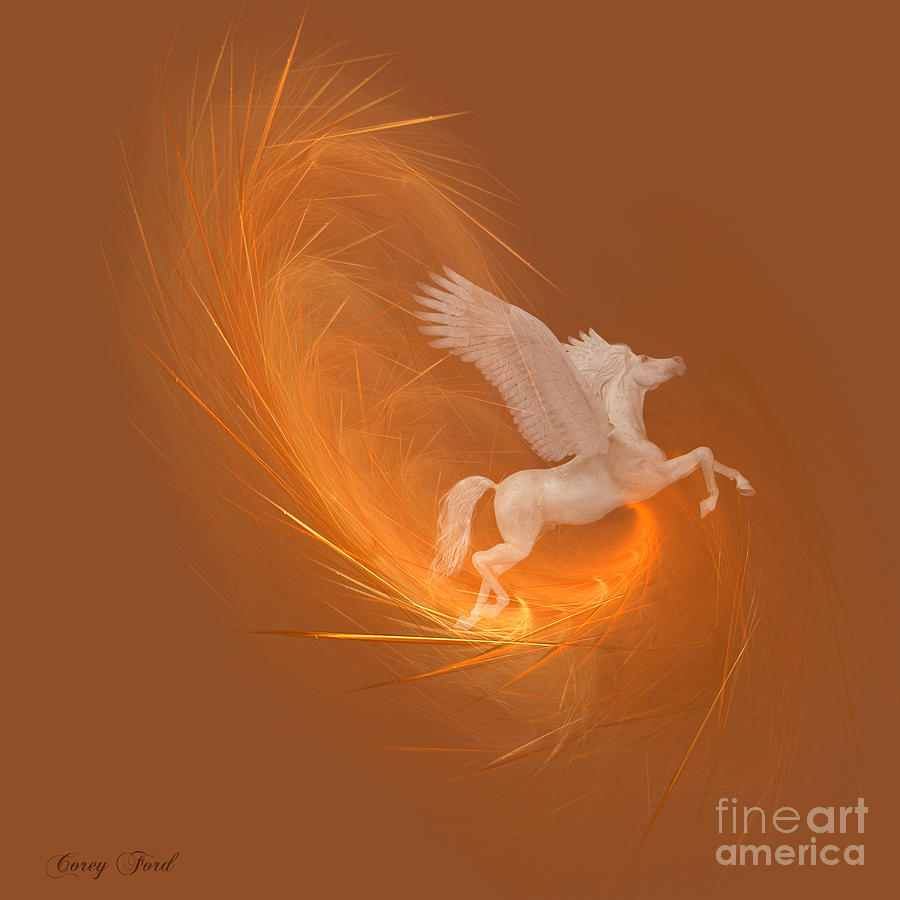 Feather Painting - Spun From Gold by Corey Ford