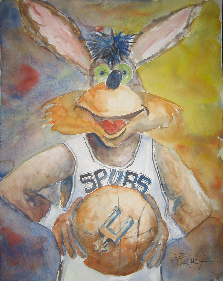 Coyote Cartoon Spurs Basketball  Loose Playful Happy Mascot Painting - Spurs Coyote by Barbara Kelley