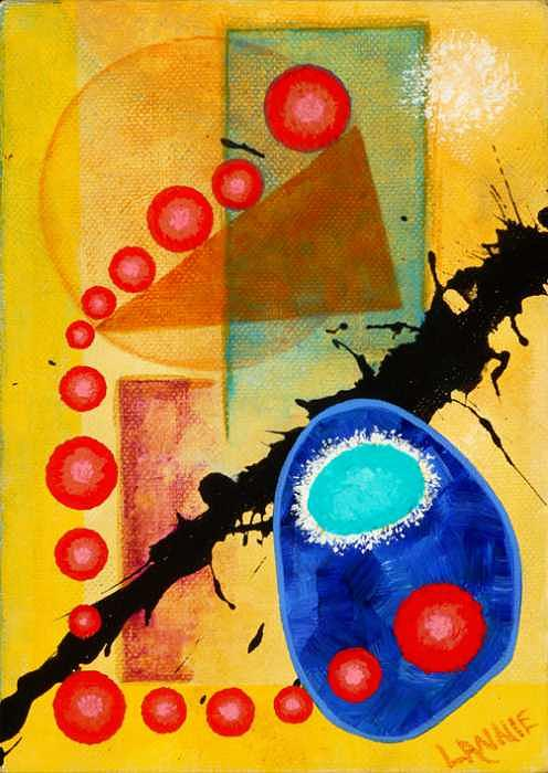 Abstract Painting - Sputnik Lounge Friskin the Whiskers by Leann Harding
