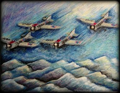 Airplanes Painting - Squadron Ca. 1944 by Ronald Johnson