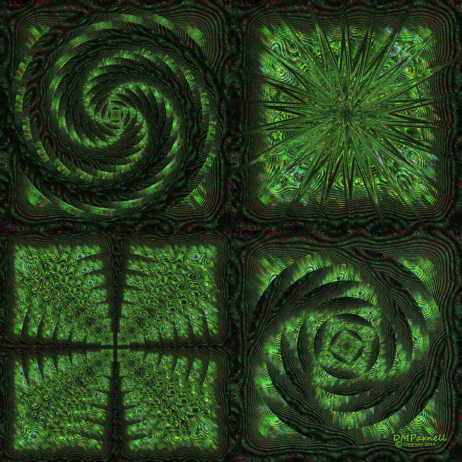 Abstract Digital Art - Square Crop Circles Quad by Diane Parnell