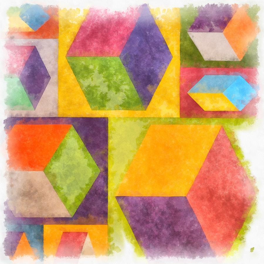 Painting Painting - Square Cubes Abstract by Edward Fielding