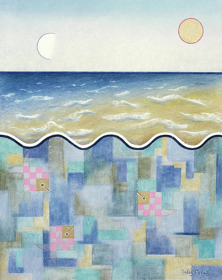 Seascape Mixed Media - Square Fish And Sea by Sally Appleby