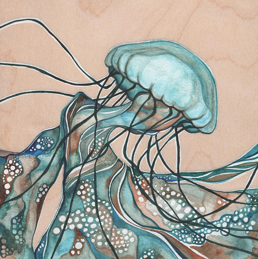 Jellyfish Painting - SQUARE Lucid Jellyfish on Wood by Tamara Phillips