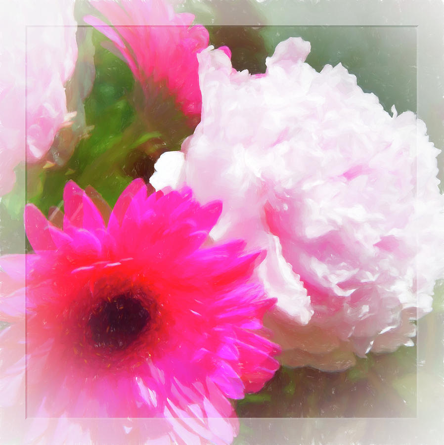 Square Pink Flower Impressions by Natalie Rotman Cote