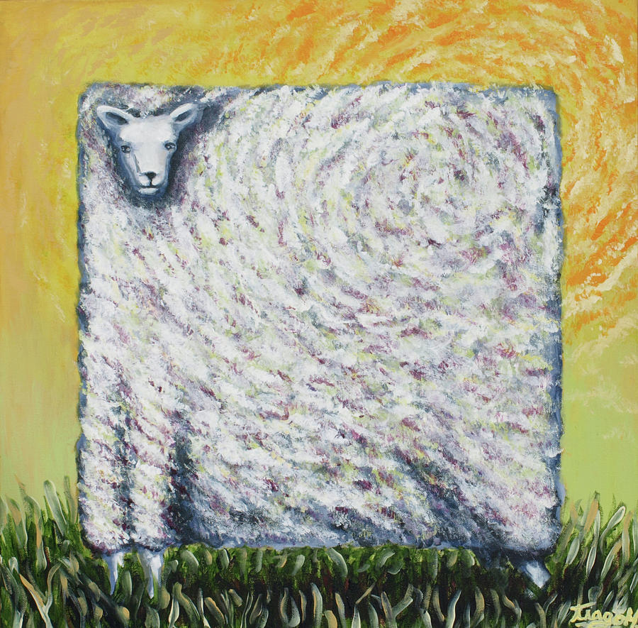 Square Sheep Covering The Sun Painting By Tiago Hacke