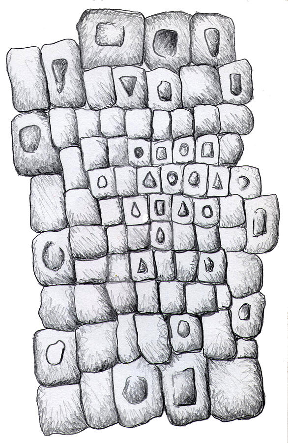 Squares Drawing - Square Wall by Nancy Mueller