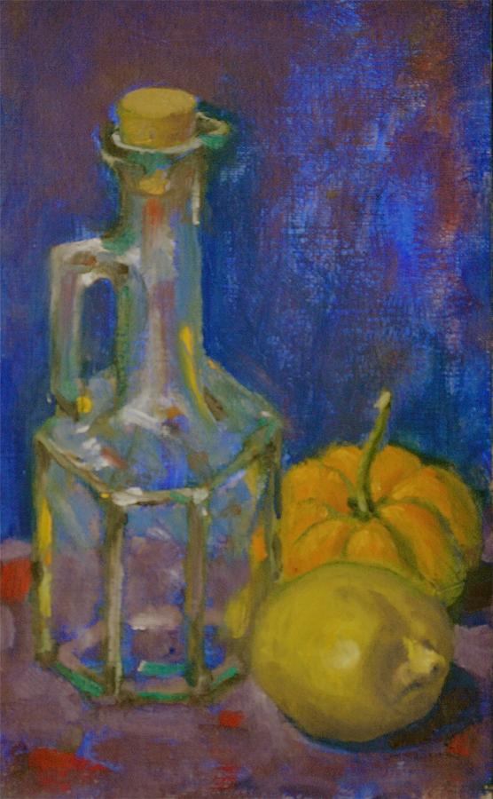 Squash And Lemon Painting by Chris  Riley