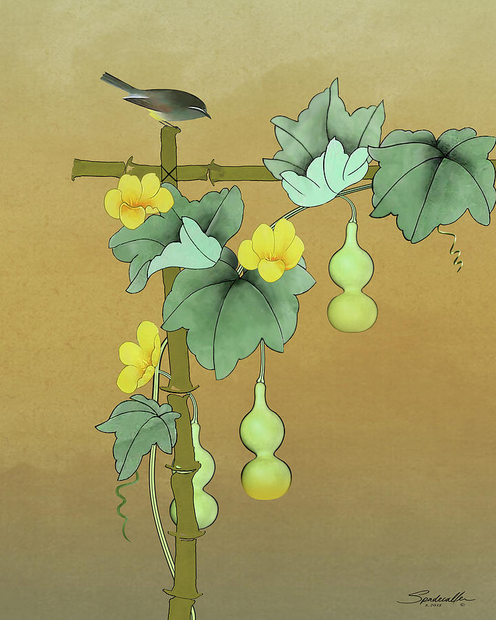 Asian Digital Art - Squash Vine And Bamboo by M Spadecaller