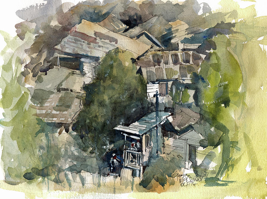 Watercolor Painting - Squat Community Jamaica  by Gaston McKenzie