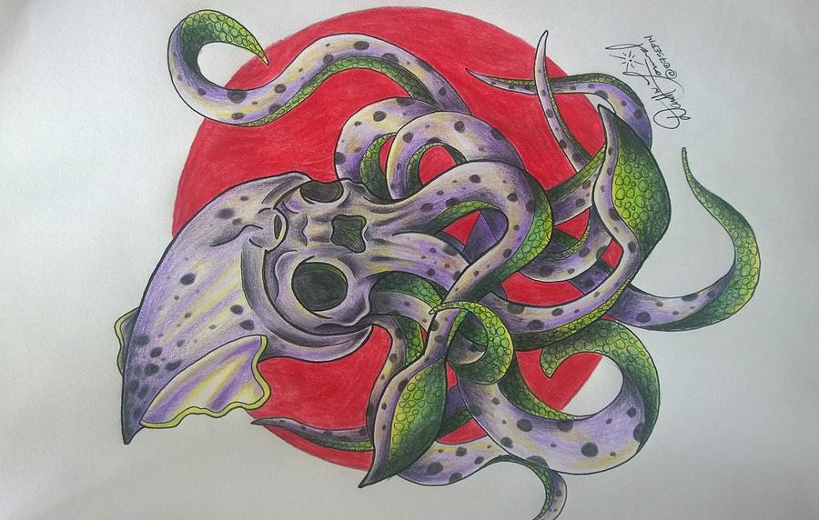 New School Drawing - Squid by Darrell Lormand