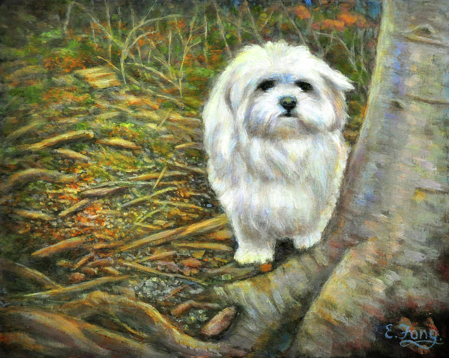 Little White Dog Painting - Squirrel In Its Mind by Eileen  Fong