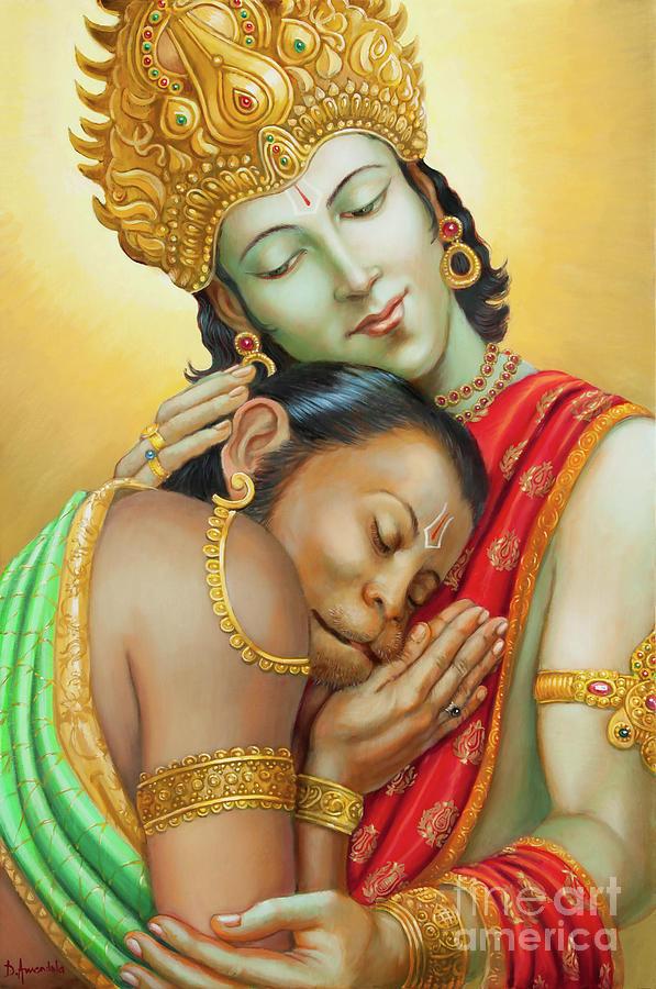Vedas Painting - Sri Ram Embracing Hanuman by Dominique Amendola