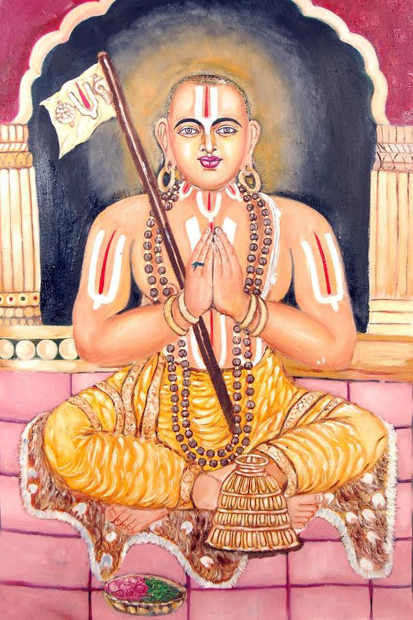 Oil Painting Painting - Srimadh Ramanujar by Sankaranarayanan