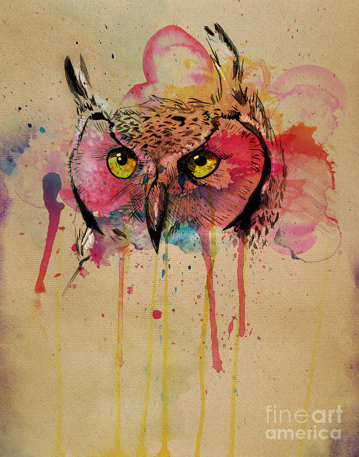 Owl Painting - Srsly Who by Kyle Willis
