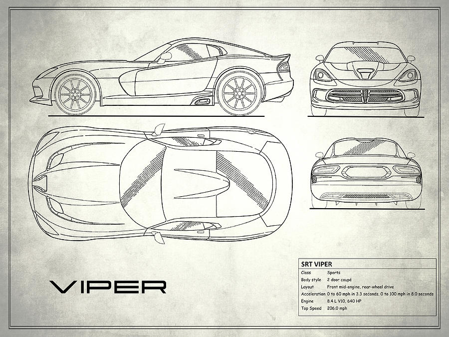 Car blueprint photographs page 4 of 12 fine art america car blueprint photograph srt viper blueprint by mark rogan malvernweather Gallery