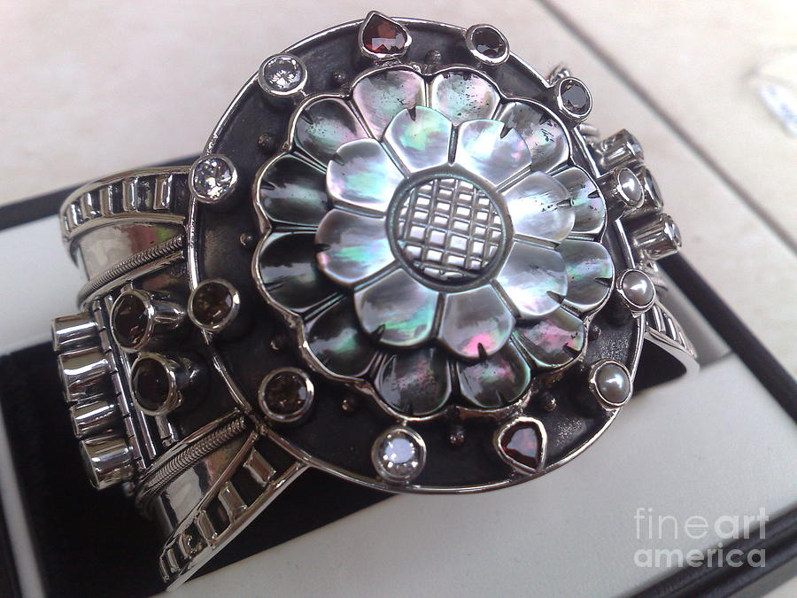 Sterling Silver Earring Jewelry - Ss Cuff With Mop And Variety Semi Precious Stones by fmnjewel - Fernando Situmeang